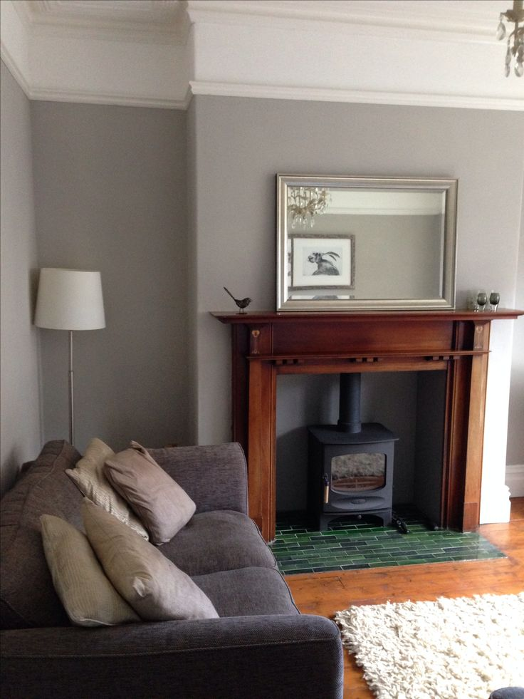 Wall: farrow & ball Purbeck Stone and Mole's Breath. Stove: Charnwood C-5.