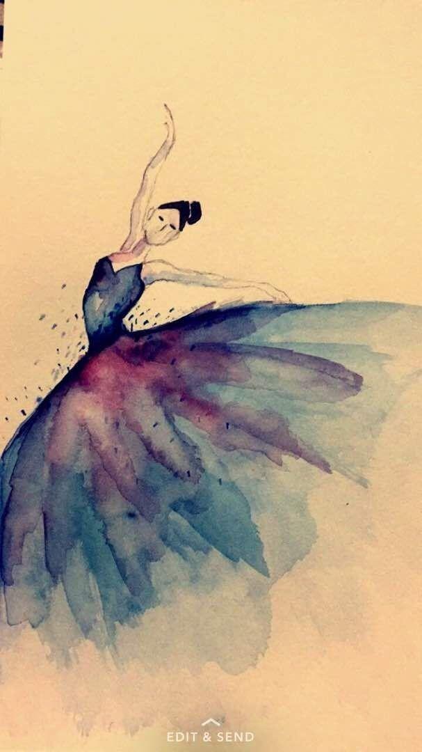 балерина рисунок акварелью легко
