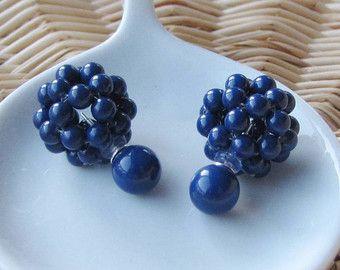 Dark blue double sided cluster earrings