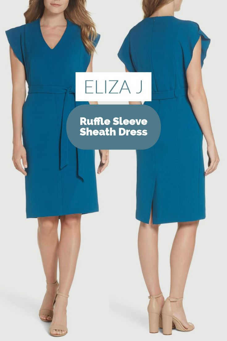 Eliza j ruffle sleeve sheath dress create a long lean silhouette