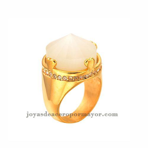 Anilllo de acero para damas lujoso con piedra blanca joyeria venta online
