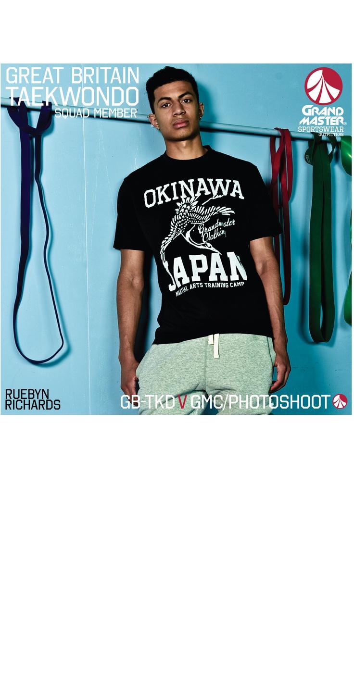 grandmaster clothing okinawa T from SS13 worn by up and coming GB Taekwondo star Ruebyn Richards