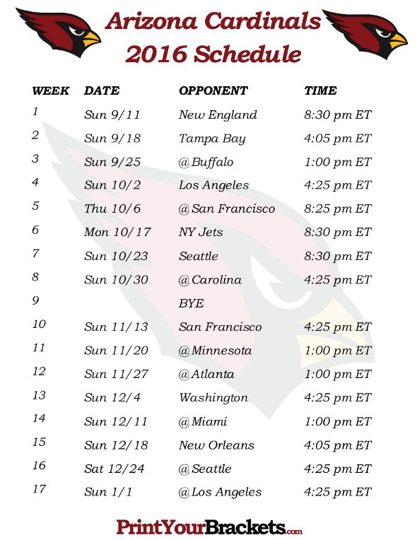 Printable Arizona Cardinals Schedule - 2016 Football Season