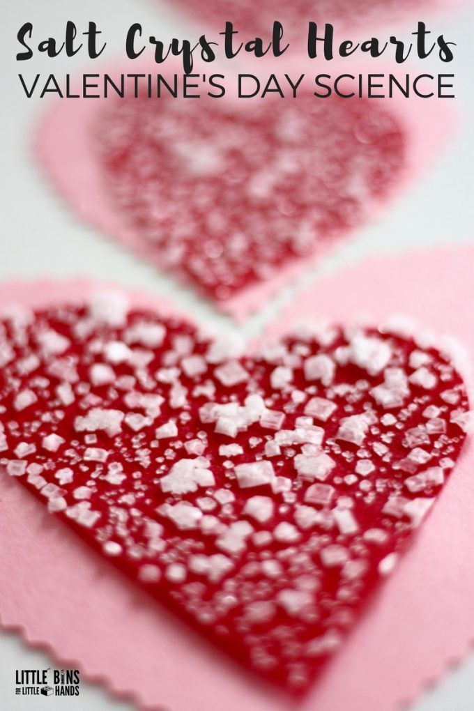 Valentine's Day Science: Salt Crystal Hearts (from Little Bins for Little Hands)