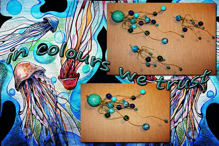 happy jellyfish (necklace and earrings) with natural stones and wire ....this is after I draw the painting http://nonanon-a.blogspot.ro/2010/10/jellyfish.html#links
