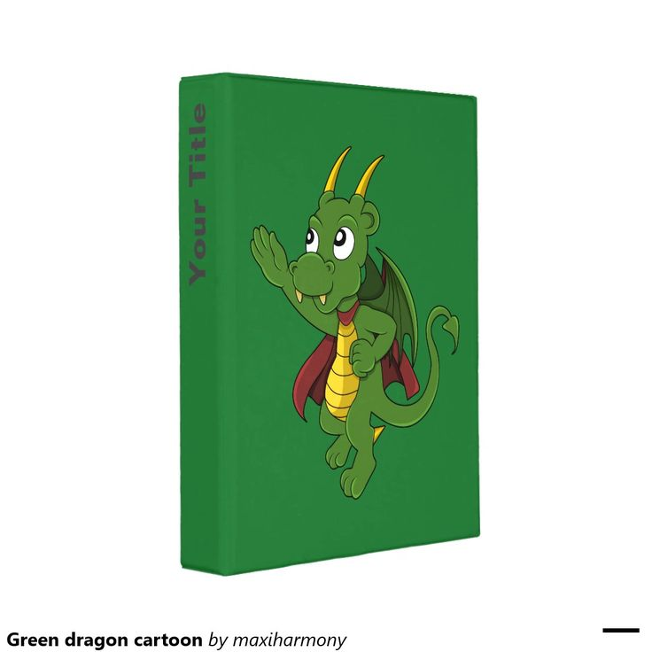 Green dragon cartoon mini binder