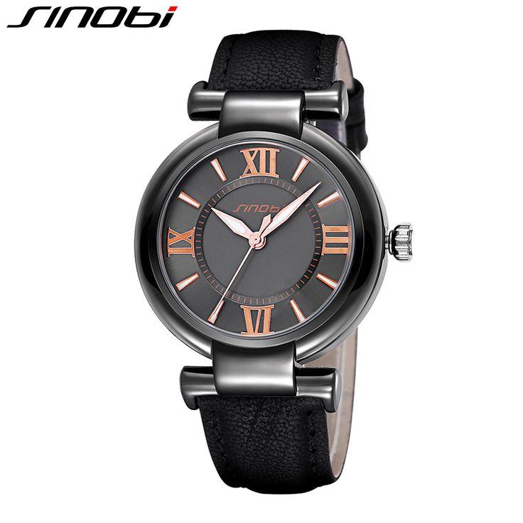SINOBI Women Watch 2017 Brand Luxury Lady Dress Watch Leather Strap Fashion Quartz-Watch Female Wristwatch Relogio Feminino