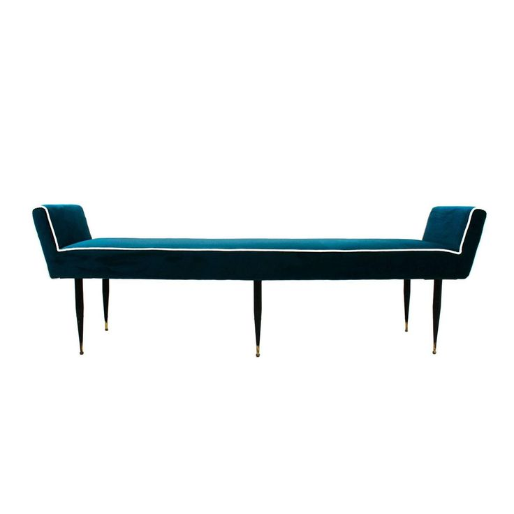 "Italian Bench | 1stdibs.com. 72.44""D x25.2 in.Hx16.54 in.W. $4k. Italian bench made in wood structure upholstered in velvet. Six ebonized legs ending in brass sabot."