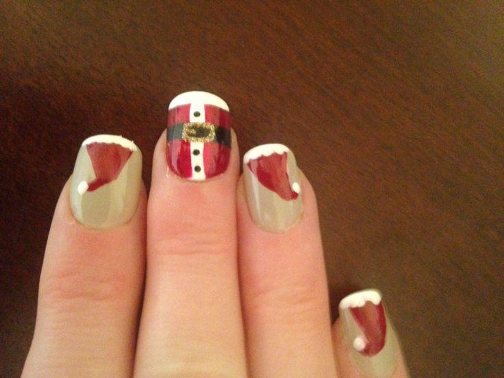 Fun Christmas nail Santa 🎅  hats and suit