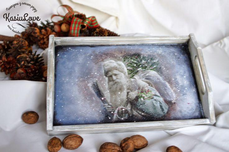 świąteczna i zimowa drewniana taca decoupage, dziadek mróz, mikołaj, vintage, szaro,  - christmas winter decoupaged serving tray, grey, vintage, old santa claus
