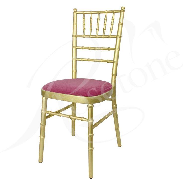 Gold Chiavari with Fuchsia Pink Seat Pad. Popular Gold Wedding Chair Bright Pink, Pink Theme