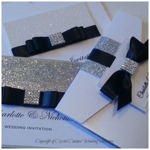 Black and glitter wedding invitations