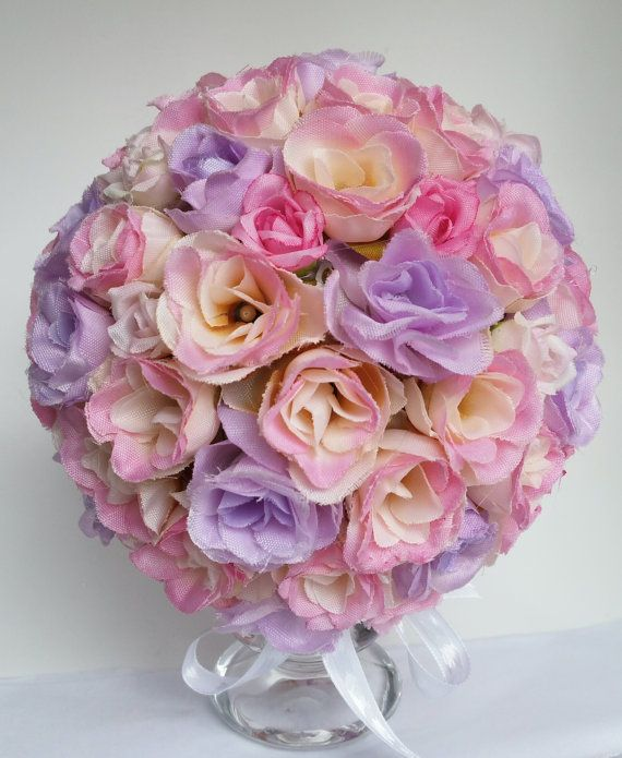 Pink and lilac rose table decor table centrepiece by DunnCrafting