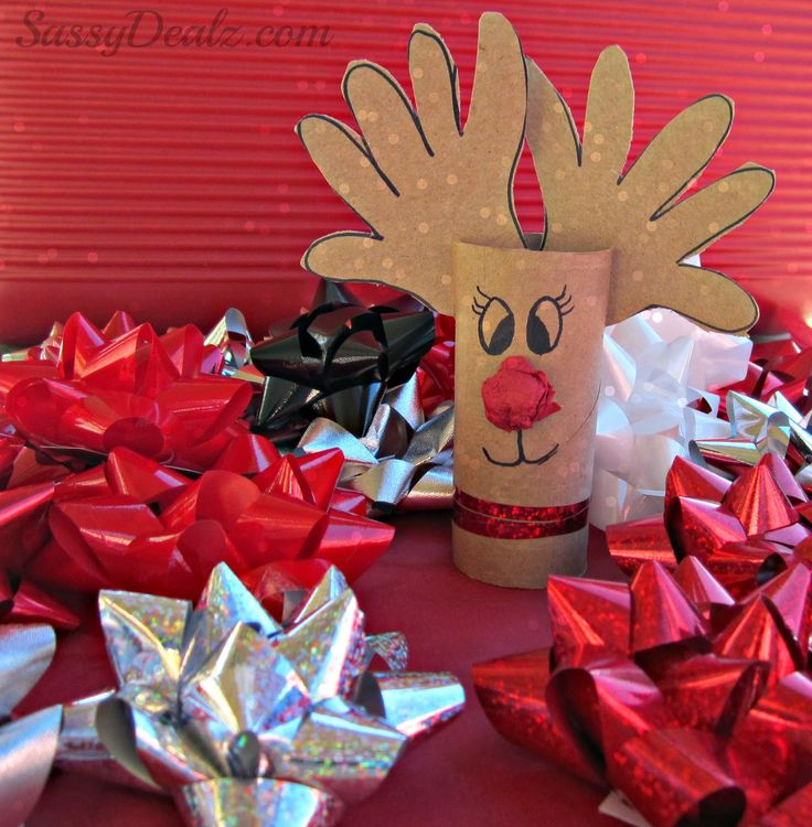Handprint Reindeer Toilet Paper Roll Craft For Kids got to try this my boys would love it