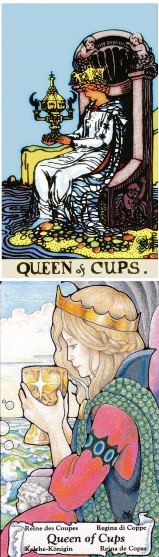 Queen of Cups: comforting and compassion run dry (reverse). Rider Tarot deck and Hanson Tarot deck: tarot cards gratis, daily tarot and best online tarot reading. The best tarot reading tips and spelljammer. #tarotcardstips