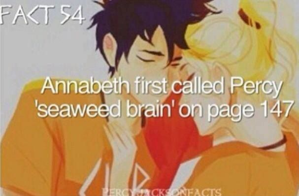 Annabeth first called Percy 'seaweed brain' on page 147