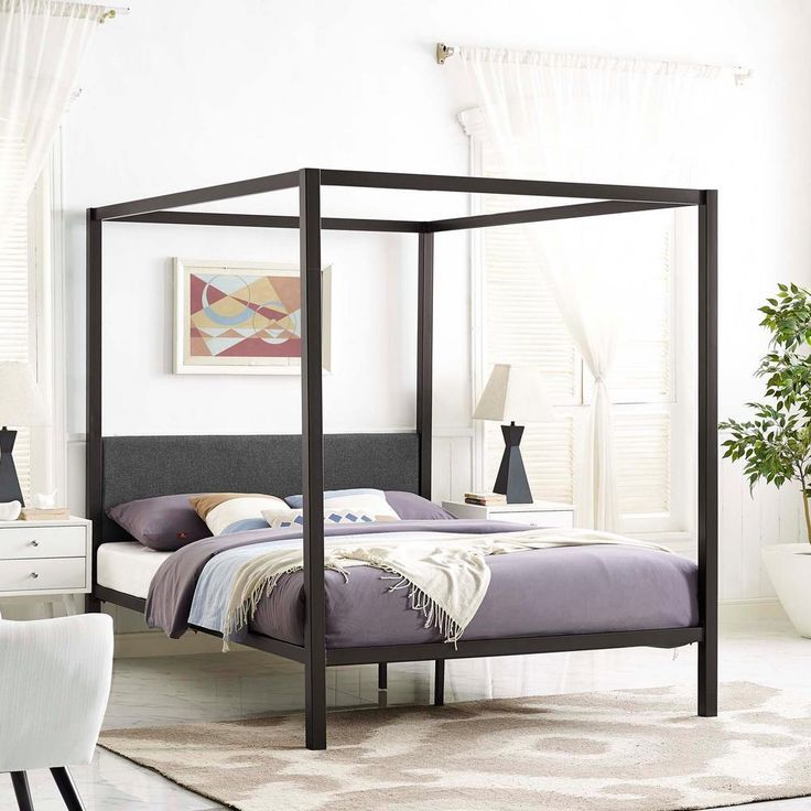 Modway Raina Brown Gray Queen Canopy Bed Frame Mod 5570 Brn Gry