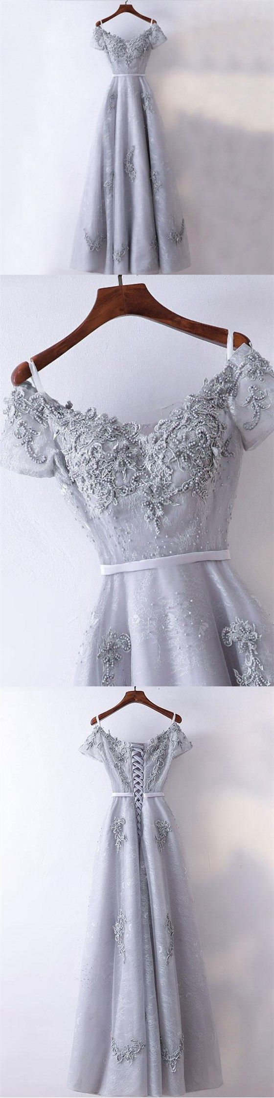 New Arrival Formal High Quality Prom Dresses, A-line Grey Short Sleeves Bridesmaid Dresses, PD0458