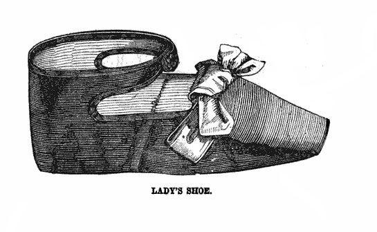 Lady's shoe pattern - Peterson's Magazine 1850 Civil War era craft DIY template pattern