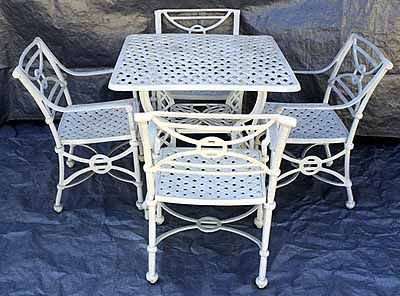 Garden And Patio Furniture, Cast Aluminum Patio Garden Furniture 5 Piece  Lattice Dining Set These Part 57