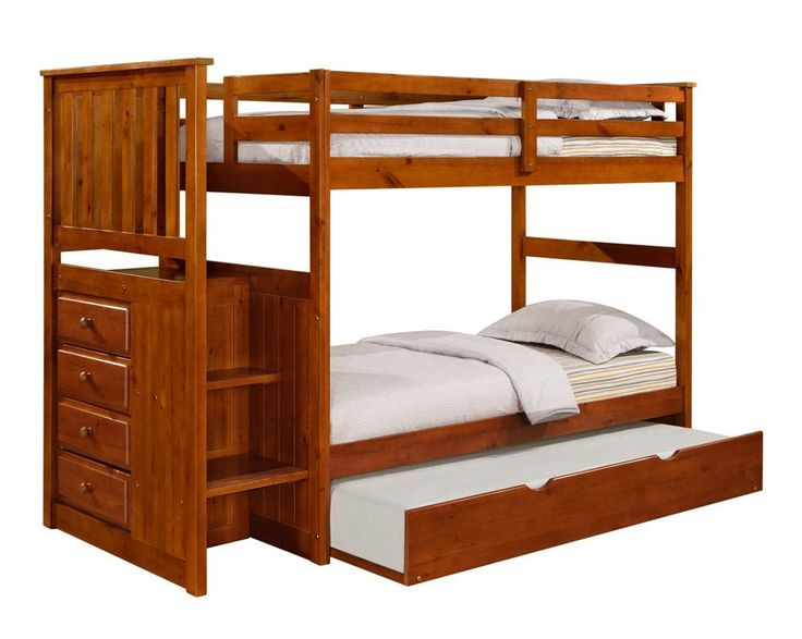 Solid Wood Dark Oak Staircase Bunk Bed W Trundle