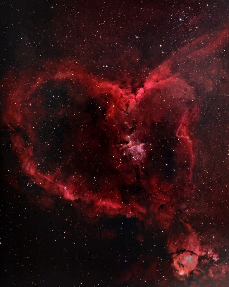 The Heart Nebula (IC 1805) lies about 7500light years away from Earth and is located in the constellation Cassiopeia. Beautiful Valentine's...