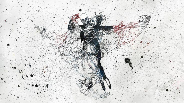1366x768 Wallpaper skull, dance, movement, paint