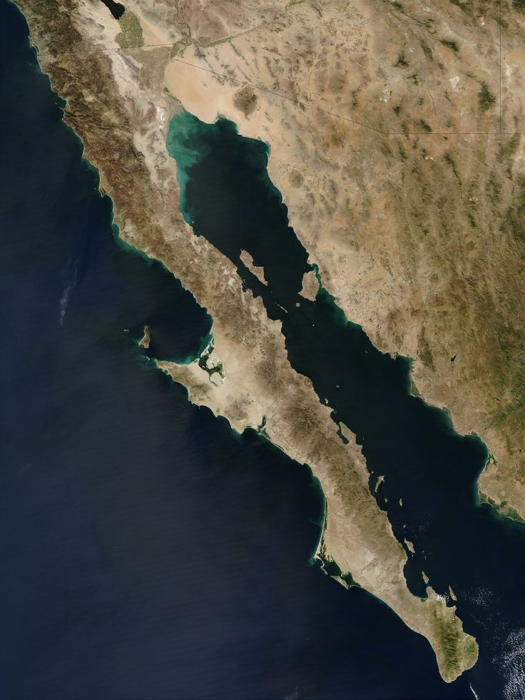 A satellite view of Baja California peninsula and the Gulf of California, Mexico