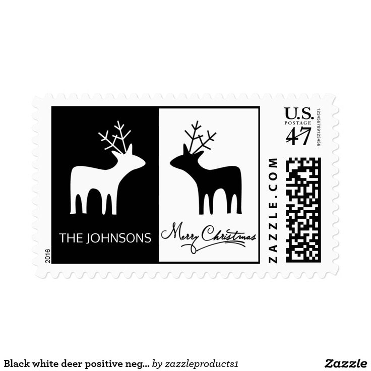 Black white deer positive negative space Christmas Stamp