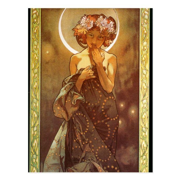 Mucha Clair De Lune 1902 Postcard Zazzle Com Art Nouveau