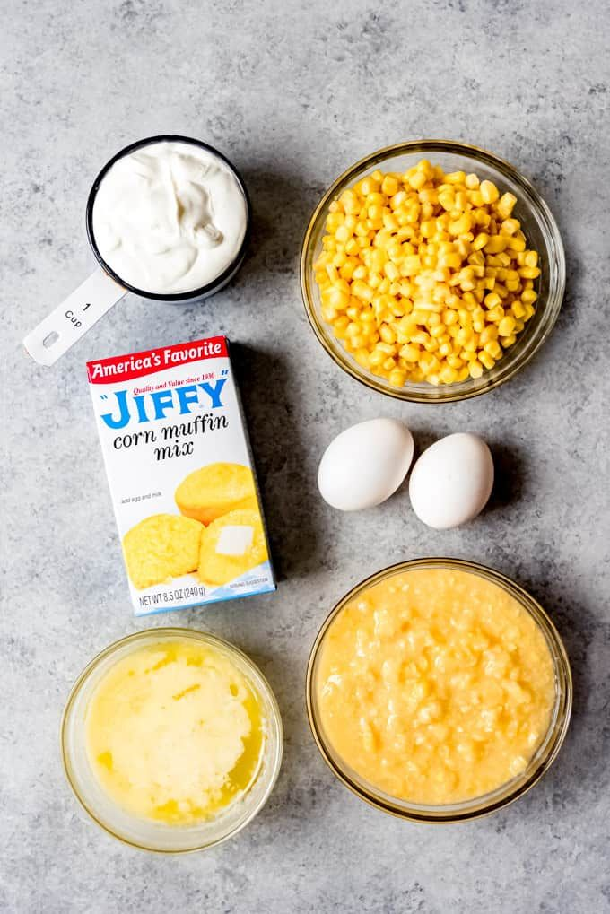 An Image Of The Ingredients For Making Jiffy Corn Casserole Cornbread Recipe Sweet Creamy Corn Casserole Sweet Corn Casserole