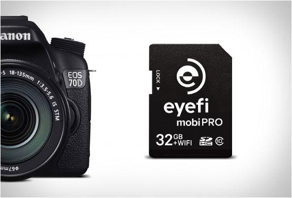 CARTÃO WIFI SD - EYEFI MOBI PRO  O novo Eyefi Mobi Pro é o último cartão SD WiFi, uma ótima solução para quem tem câmeras sem WiFi incorporado. O cartão de memória de 32GB é poderoso, o Wi-Fi SDHC conecta sua câmera com smartphones, tablets ou computadores, e sem fios transfere os arquivos RAW e JPEG em velocidades relâmpago. veja mais detalhes no nosso site.