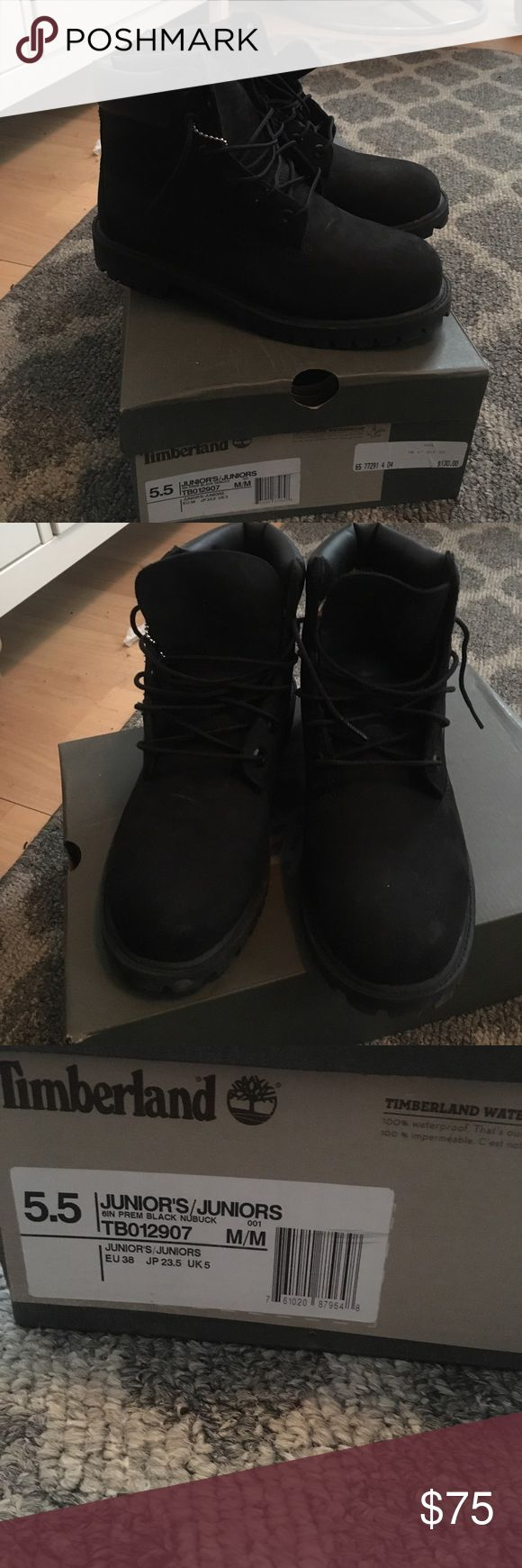 Black timberland boots Black timberland boots in great condition only worn once. It's a juniors size 5.5 which is equivalent to a women's 7.5/8 Timberland Shoes Combat & Moto Boots