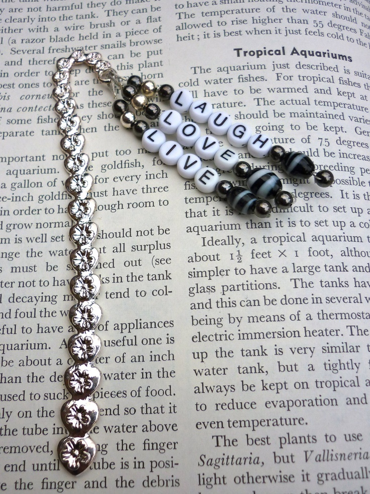 Beautiful Silver Coloured Metal Beaded Bookmark - LIVE - LOVE- LAUGH.