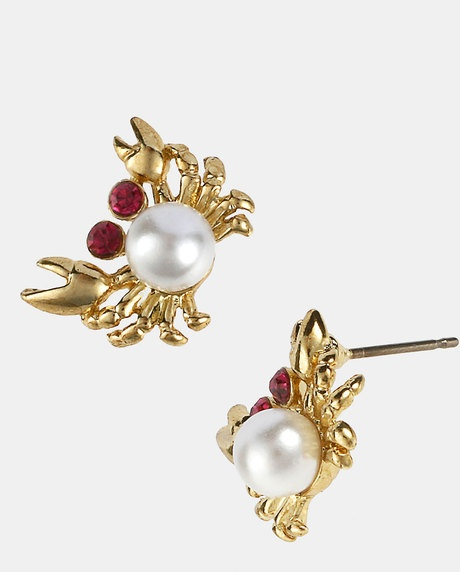 Betsey Johnson Sea Excursion Crab Stud Earrings in Gold (pearl multi/ gold)