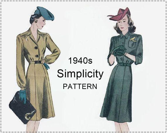 1940s Dress Sewing Pattern  Vintage by EightMileVintageSews