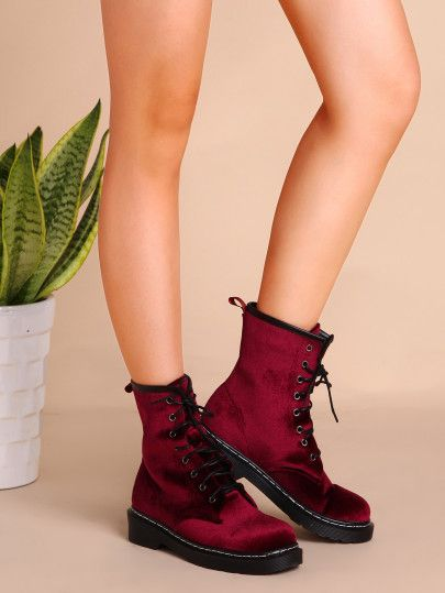Shop Velvet Lace Up Short Boots WINE online. SheIn offers Velvet Lace Up Short Boots WINE & more to fit your fashionable needs.