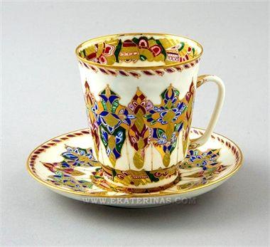 Ekaterina's Imperial Porcelain &Tea. Arabesques Cup and Saucer