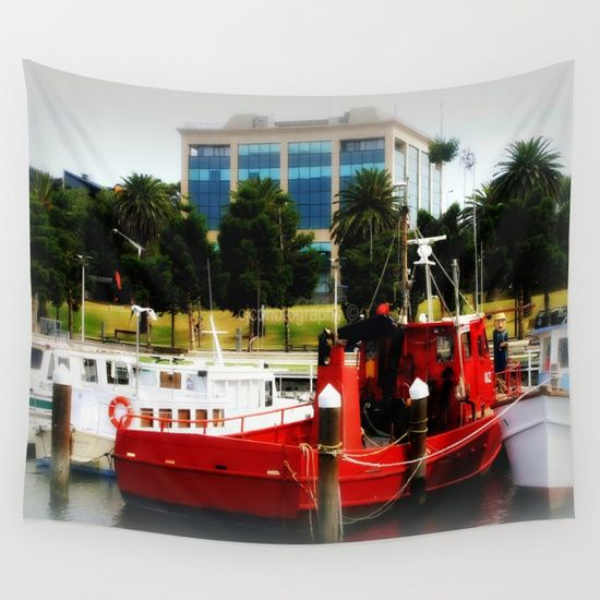 Little red tug Boat Wall Tapestry