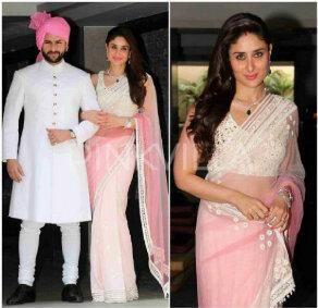 Saif & Kareena at Soha Ali Khan & Kunal Kemmu's Wedding, Jan 25, 2015, Latter in #Saree by http://www.ManishMalhotra.in/landing/
