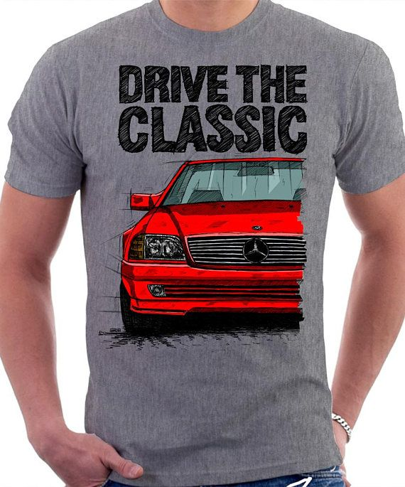 Classic Mercedes R129 SL T-shirt Heather Gray. Original hand drawn design. - original hand drawn design made by artist - very good quality t-shirt, 185g , 100% cotton - choice of diferent car colours - size chart attached as a last picture. Please notice that the product is made to