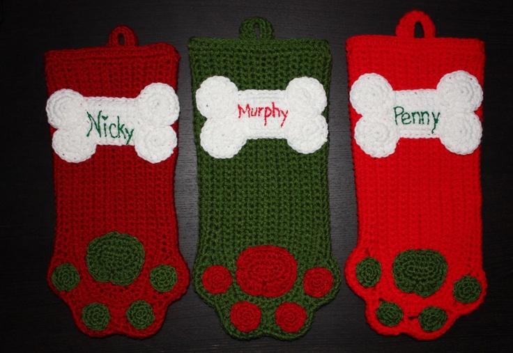 Free Dog Christmas Stocking Crochet Pattern : Crochet Dog Stockings Crochet & Knit 4 K9 Pinterest ...