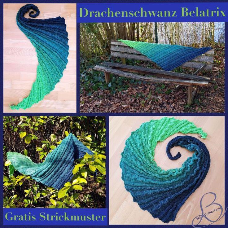 """Gratis Strickmuster / free pattern shawl """"Drachenschwanz Belatrix"""" – Drachenzähmen leicht gemacht"""
