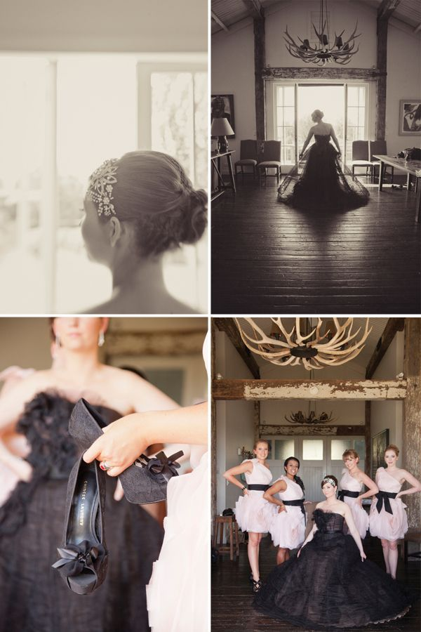Black Barn Hawkes Bay Wedding with a black Vera Wang dress