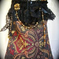 Bohemian Gypsy Purse, black thick tapestry bag, fringe, lace, gypsy coins, SMALL