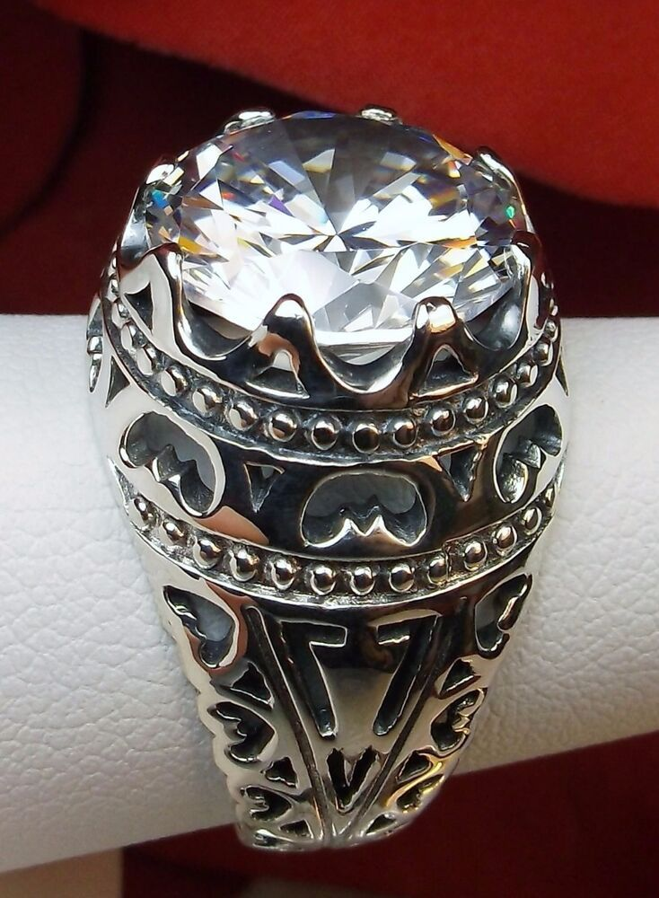 9ct Round White Gem Big Sterling Silver Filigree Ring Size