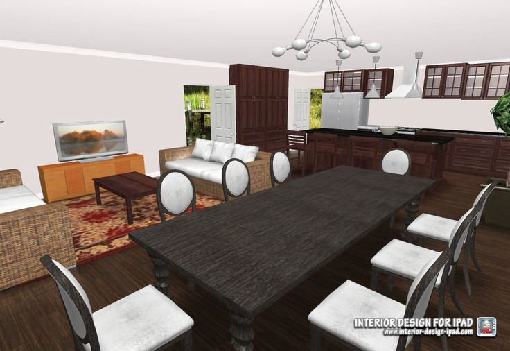 3d view of open plan living/ dining/ casual living 6x9m