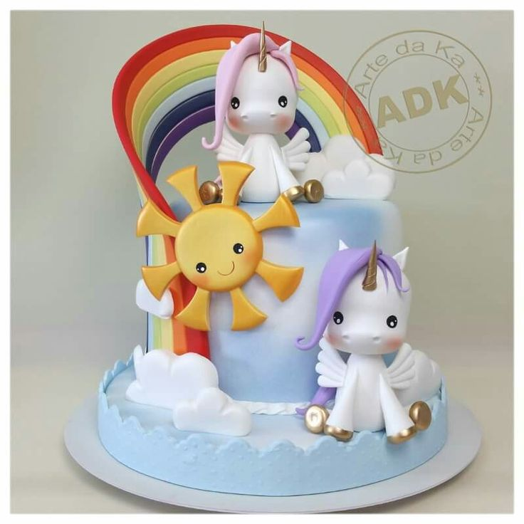 Unicorn Cake I like the smaller cake on the bottom idea, but the top tier will probably be too heavy!