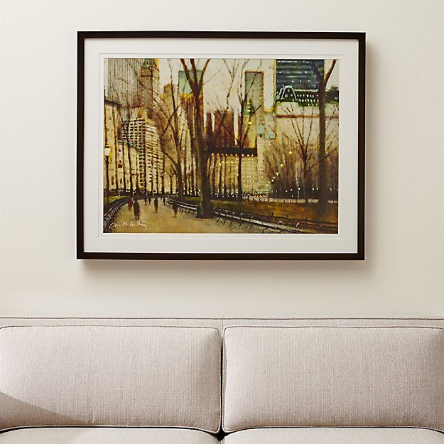 A painterly snapshot of New York's famous Central Park, Clive McCartney evokes the quiet ambiance of the park and the surrounding skyline at dusk. The earthy browns of the winter scene are enlivened by bits of blue in the roofs and the punctuation of streetlights in this evocative view. Our giclée reproduction of the original brilliantly preserves the layered glazes and harmonious palette of the original oil painting.