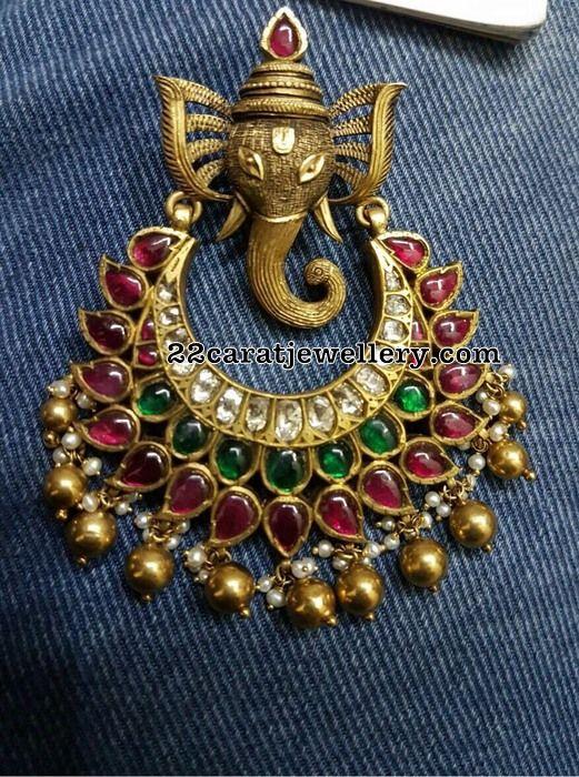 Antique Work Gemstone Pendants Gallery - Jewellery Designs
